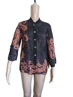 Citron Women's Multicolor Floral Button Down Blouse Silk Rayon Blend Size Medium