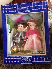 "Vintage Ginny Vogue lot of 2 8"" Poseable Dolls Romeo and Juliet w/ stand outfits"