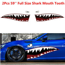 2x 59'' Shark Mouth Tooth Teeth Sticker Vinyl Graphics Car Side Door Decor Decal