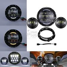 "7"" LED Daymaker Headlight Passing Lights For Harley Davidson Touring Road King"