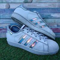 "Mens Adidas Superstar 80's ""J"" Iridescent Trainers UK5 US5.5 EU38 White AQ6278"