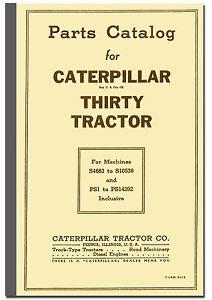 Caterpillar Thirty 30 Parts Catalogue Cat Thirty Tractor Parts
