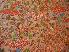 Joan Kaminski VTG Chintz Fabric 5 Yds I Hear Music Angels Trumpets Birds Flowers