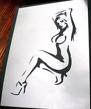 Alto detalle aerógrafo de plantilla chica desnuda GRATIS UK FRANQUEO