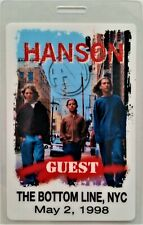 ** HANSON **  LAMINATED BACKSTAGE PASS - NEW YORK CITY - 1998 - GUEST - Perfect