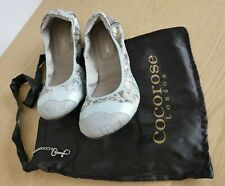 Cocorose Highbury Duck Egg Blue Faux Snake Foldable Shoes - Size 6 (Euro 39)