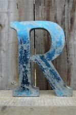 MEDIUM VINTAGE STYLE 3D BLUE R SHOP SIGN LETTER TIN WALL ART LETTER FONT