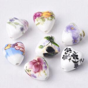 10pcs Heart 13x12mm Flower Patterns Porcelain Ceramic Loose Charms Beads Lot