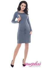 Purpless Maternity 2in1 Pregnancy and Nursing Casual Dress Top With Pocket B6204 Jeans Melange UK 18