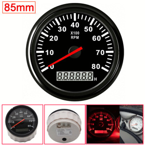 85mm Red LCD Tachometer 12/24V Car Boat Marine Diesel Engine Tacho Gauge 8000PRM