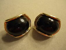 Vintage Signed TRIFARI Black Celluloid Rhinestone Domed Curved Clip Earrings