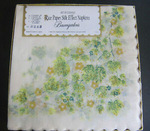 20 Vtg Baumgarten's Rice Paper Silk Effect Luncheon Napkins Crafts JAPAN