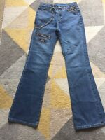 Escada Sport KATE Jeans Size 34 Embroidered Chain Mid Wash L32 Bootcut