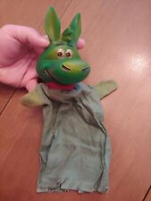 Vintage Hand Puppet Green Dinosaur Hanna Barbera Style Plastic Head