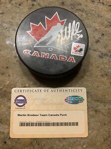 Martin Brodeur Signed Team Hockey Canada Puck Steiner COA NewJersey Devils Blues