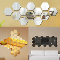 12Pcs 3D Mirror Hexagon Wall Stickers Removable Art Decal Home Decor Mural DIY