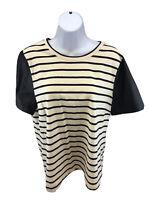 J.Crew Women's Beige/Blue Striped Faux Leather Short Sleeve T-Shirt Sz L