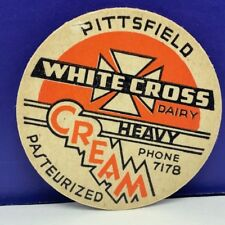 Dairy milk bottle cap vintage farm advertising vtg White cross Pittsfield cream