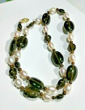Pearls & Big Smokey Quartz Beads Necklace 14kt Gold Clasp Great Look !!!