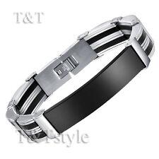 T&T Black Stainless Steel ID Bracelet Engravable (BBR108)