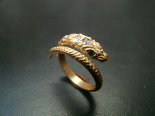 Amazing Detail  and Character 14k snake ring with genuine diamonds and emeralds