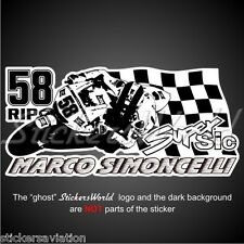 Marco Simoncelli 58 Rip Adesivo dans vinile, Décalcomanie, autocollant