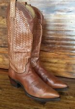Women's Dan Post Weave Brown Leather Western Cowboy Boots 6.5 M USA
