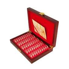 Wooden Coin Display Storage Box Case Collectible with 50 Capsules Kits Holder