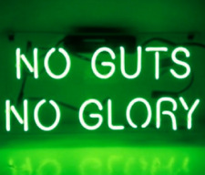 "No Guts No Glory Green Neon Lamp Sign 14""x9"" Acrylic Bright Lighting Glass Bar C"