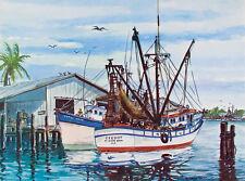 Original VINTAGE Fort Myers FLORIDA Shrimp Boats ART PRINT W Harold Hancock 1967