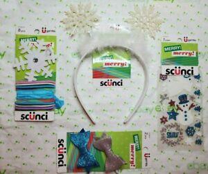 Scunci Holiday Set Snowflake Headband W Ears Elastics Bows & 1 Sheet of Stickers