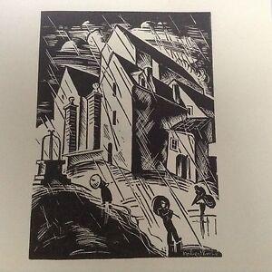 1930s Woodcut Print L'Orage (storm) by Robert Bonfils