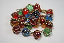 ANTIQUE VINTAGE VICTORIAN POOL OF LIGHT  24 ORBS BRASS WRAP NECKLACE MULTI COLOR