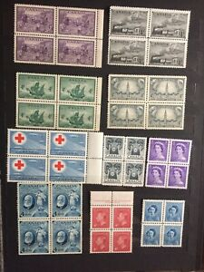 Canada Small Lot Of Vintage Mint Never hinged blocks of four