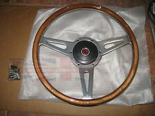 "New 14"" Laminated Riveted Wood Steering Wheel and Adaptor for MGA 1955-1962"