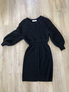 Alexander Wang Tricot Dress Sz Med Black Wool Cashmere Blend Mini Sweater EUC