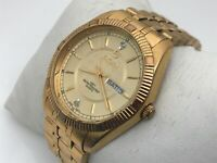 Elgin Men Watch Gold Tone Date Day Calendar Analog Gold Tone Wrist Watch