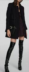 Maje Black wool coat size F38 UK 10 - BNWT harrods Velvet Trim BARGAIN RRP 395