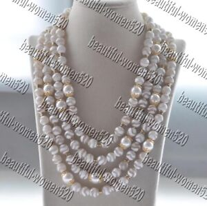 """Z11384 4Row 21"""" 12mm White Shell Pearl Faceted Ripple Agate Bead Necklace"""