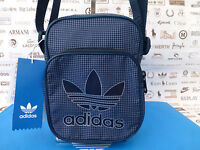 ADIDAS MINI Body Bag TEAM Crossbody Logo Man Bags Navy Check Shoulder Sack BNWT