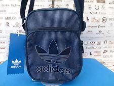 Adidas Mini Cuerpo Bolso Bandolera Bolsas de hombre con logotipo del equipo Azul Marino Cuadros Hombro saco BNWT