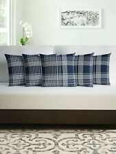Pillow Divine Casa Microfiber Cushion cotton five pieces Checked Blue color