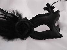 Venetian Masquerade Eye Mask Party Fancy Dress Prom Black Side Feather Mask