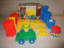 "Lot 90+ Little Tikes 4"" Wee Waffle Blocks + Wheel Cart House Building Set"