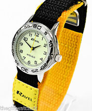 Ravel Childs Kids Luminescent Night Glow Face Watch Yellow Fast Fit TEXT Strap