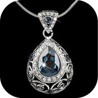 VINTAGE SILVER STYLE MADE WITH SWAROVSKI CRYSTAL FILIGREE PENDANT NECKLACE BLUE