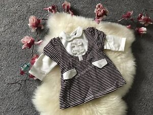 Baby Girl Cute Strips Top Cotton Long Sleeves Bow White 6 months UK New