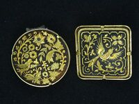 PAIR of VINTAGE 70's ORNATE ETCHED DAMASCENE TOLEDO WARE PIN BROOCH