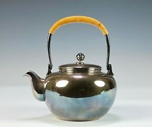 Old Antique Japanese Solid Silver Hand Made Teapot Signed