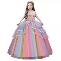 Unicorn flower Girl Dress Princess Party Long Gown birthday